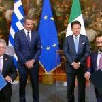 Yπογραφή συμφωνίας συνεργασίας στον τομέα της ενέργειας, στη συνάντηση Κυριακου Μητσοτάκη -Τζουζέπε Κόντε